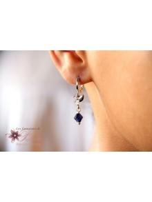 Boucles d'oreilles mariage Marcin perles bleu saphir