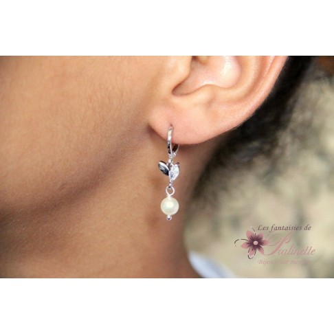 Boucles d'oreilles mariage Marcin perles en cristal nacré
