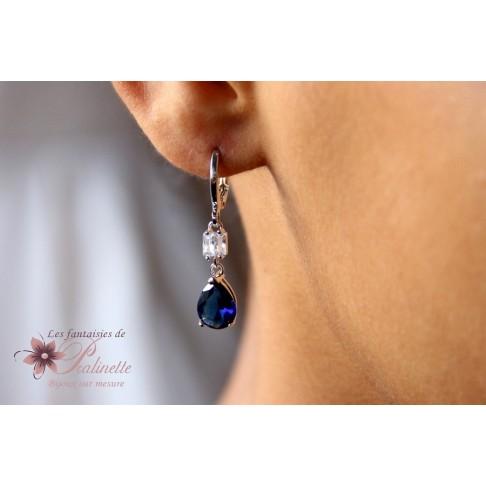 Boucles d'oreilles Emila de mariage bleu saphir