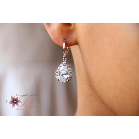 Boucles d'oreilles dormeuses gouttes baroques et strass oxyde de zirconium