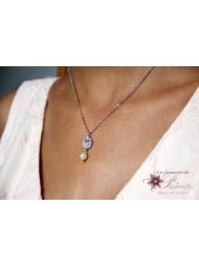 Collier de mariage Piotr pendentif ovale et perle