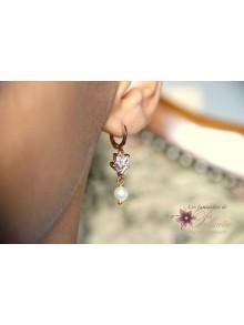 Boucles d'oreilles mariage Pacôme strass baguettes et perles