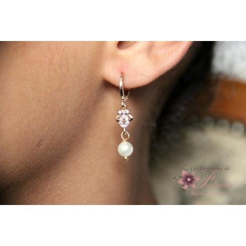 Boucles d'oreilles de mariage Hortense dorées strass et cristal