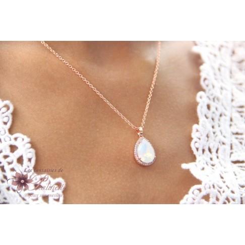 Rosalinda rose gold et blanc opal collier pendentif mariée goutte en cristal et oxyde de zirconium, bijoux mariage