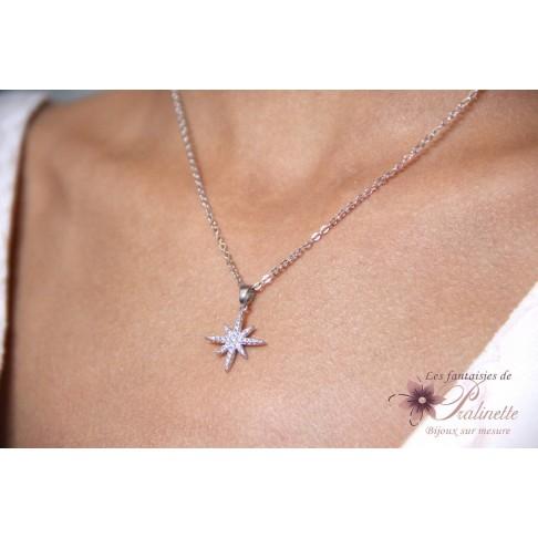 Collier de mariage étoile polaire strass en zirconium