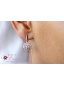 Boucles d'oreilles mariage Mina carrés strass zirconium