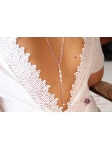 Nolan bijoux collier de mariage de dos pendant perles et cristal