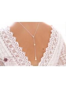 Sylvan collier de mariage de dos pendentif amovible, trio de perles