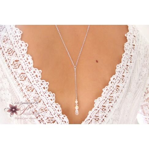 Collier bijoux mariage de dos pendeant goutte en cristal