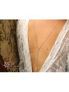 Neel bijoux collier de mariage de dos amovible, pendentif de dos goutte nacrée
