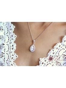 Malia pendentif de mariage cabochon cristal oxyde de zirconium serti et strass sur fine chaine