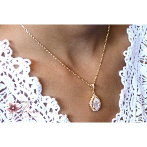 Malia pendentif de mariage doré cristal oxyde de zirconium serti et strass sur fine chaine