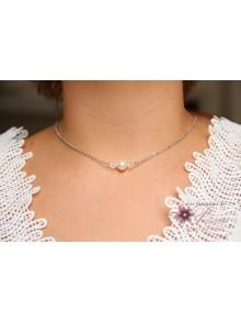 Collier de mariée minimaliste perles en cristal sur fine chaîne
