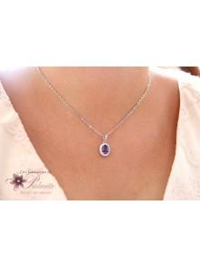 Collier de mariage violet améthyste forme ovale en zirconiums finitions rhodiées