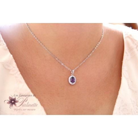 Pendentif collier de mariage ovale violet améthyste en zirconiums finitions rhodiées