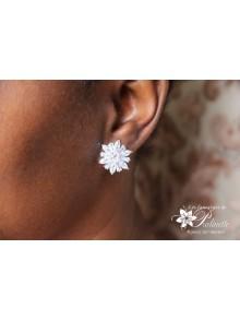 Clips d'oreilles mariage non percées strass, boucles d'oreilles mariage flocon fleur des neiges