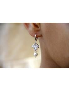 Boucles d'oreilles mariage Yanné zirconium et perles