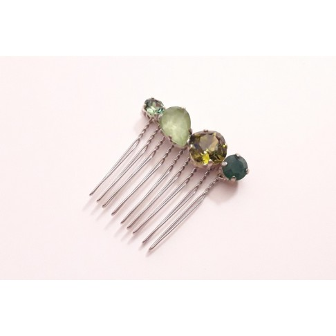 Peigne en cristal vert Alaman, accessoire de coiffure, bijou intemporel