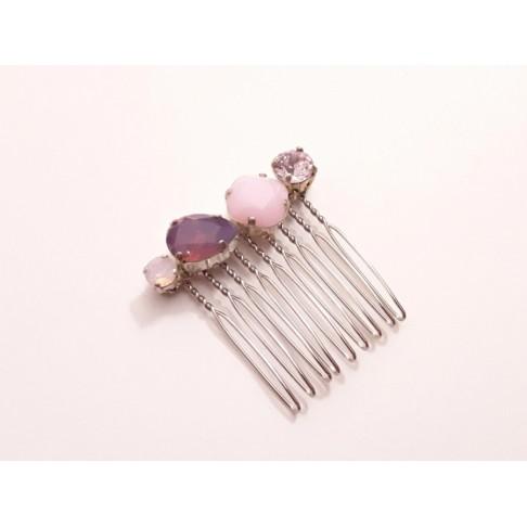 Peigne en cristal rose et violet Alaman
