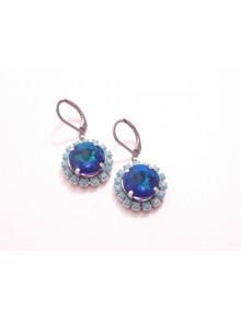 Lovely boucles d'oreilles en cristal et strass bleu et turquoise