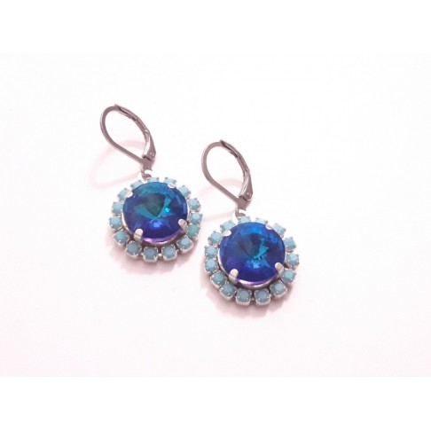 Lovely boucles d'oreilelles en cristal et strass bleu et turquoise
