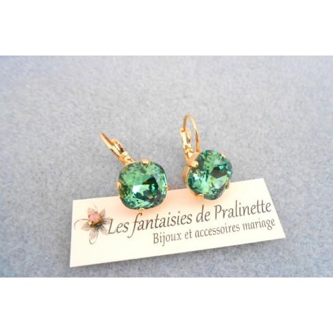 Boucles d'oreilles 1 Soline mariage soirée cabochons en cristal Swarovski vert érinite