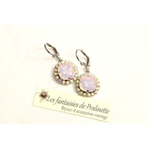 Boucles d'oreilles en crital rose opal et strass Lovely