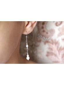 Boucles d'oreilles mariage pendantes avec perles en cristal Hera