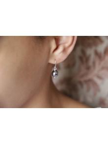 Boucles d'oreilles une perle grise
