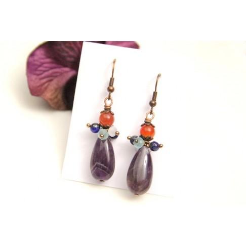 Boucles d'oreilles en amethyste et grappes de perles en cristal et pierres naturelles