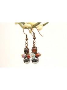 Boucles d'oreilles en hématite et grappes de perles en cristal et pierres naturelles