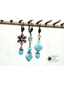 Trio Boucles d'oreilles dépareillées en cristal et pierres de turquoise