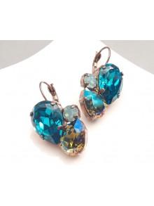 Boucles d'oreilles en cristal trois nuances de verts