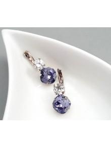 Boucles d'oreilles Duo de cristal violet et transparent