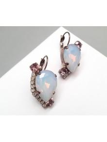 Boucles d'oreilles cristal opal et rose antique