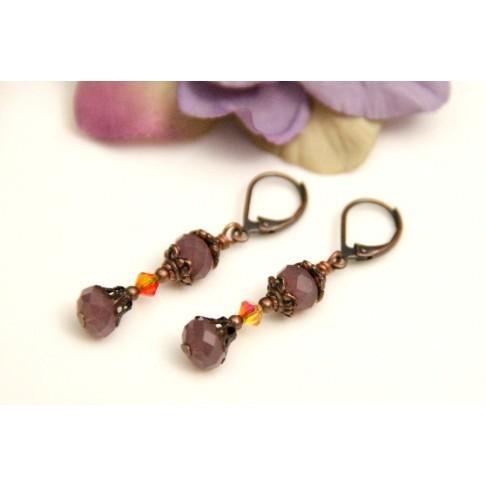 Boucles d'oreilles pendantes en cristal violet opal