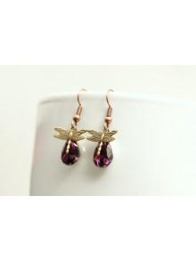 Boucles d'oreilles libellules et cristaux couleur améthyste