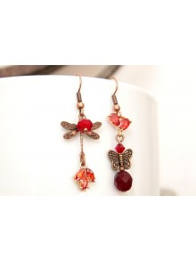 Boucles d'oreilles libellule et papillon, cristal et zirconium couleur rouge et ambrée