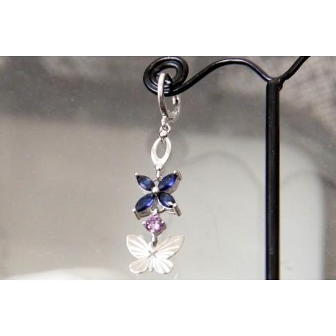 Mono boucle pendante papillon, zirconium bleu saphir et violet