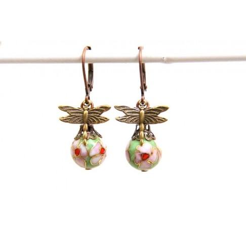 Boucles d'oreilles libellules et perles cloisonnées vertes