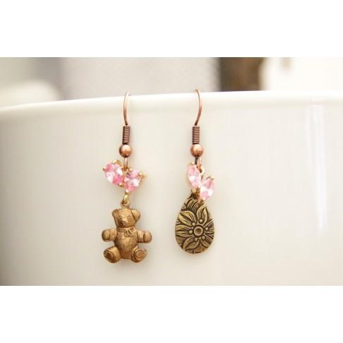 Boucles d'oreilles ourson et zirconium rose bonbon
