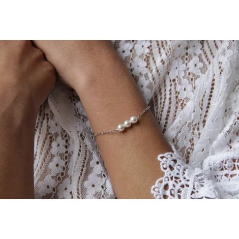 Bracelet Délila de mariage trio de perles en cristal nacé