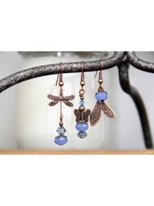 Trio de boucles d'oreilles asymétriques papillon et libellule