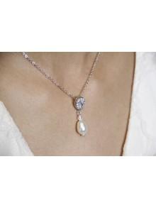 Enata collier de mariage perles et strass style rétro vintage
