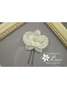 Pic à chignon orchidée fleur en satin de soie
