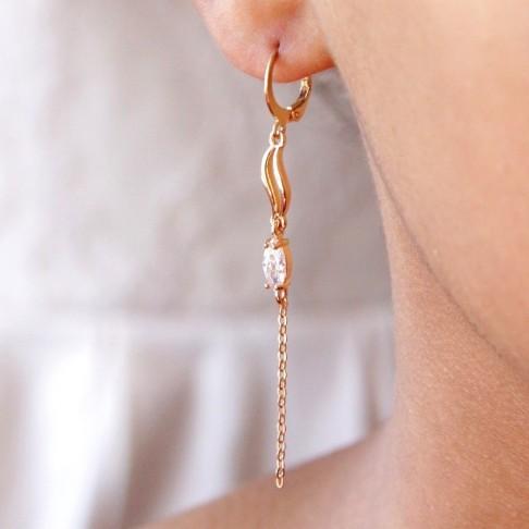 Longues boucles d'oreilles mariage chaîne et strass