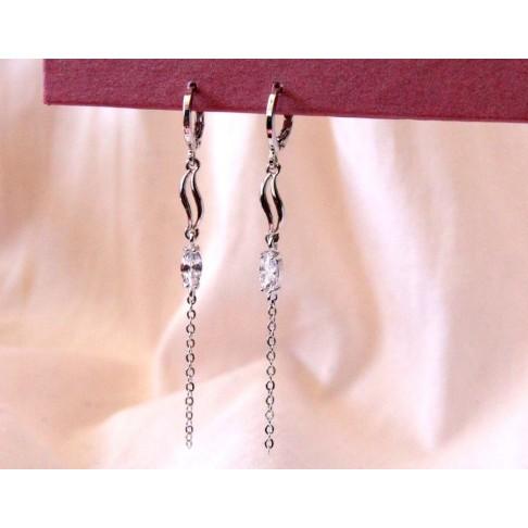 Longues boucles d'oreilles mariage chaîne et strass rhodiées