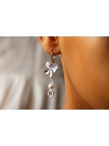 Boucles d'oreilles mariage orchidées et cristal