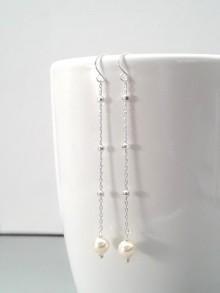 Boucles d'oreilles mariage chaîne boules et perles en cristal