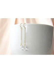 Boucles d'oreilles mariées dorées gouttes en cristal